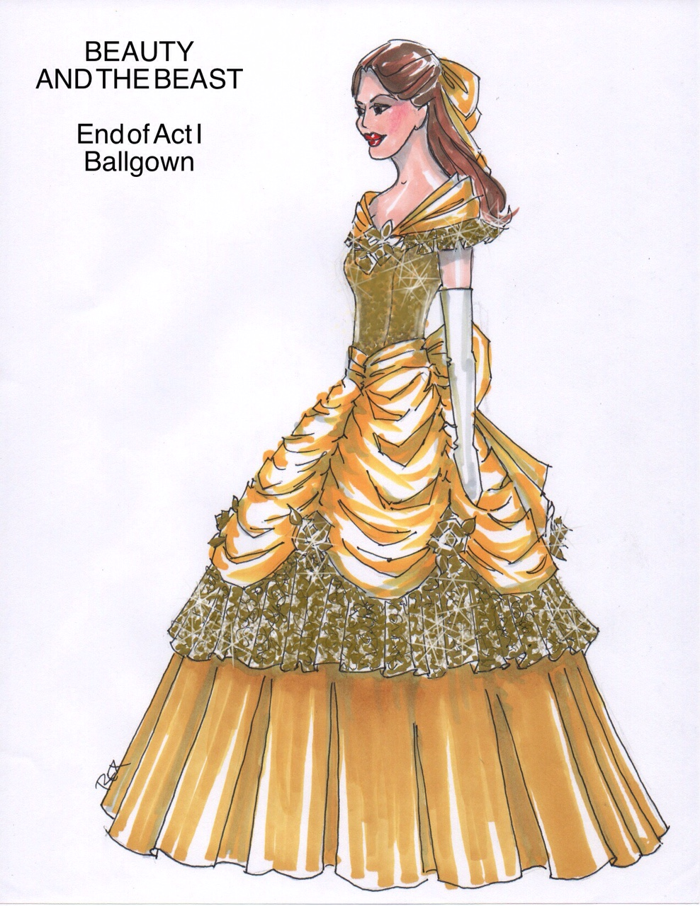 Beauty and the Beast rental costumes Belle Gown Fourth Wall Scenic