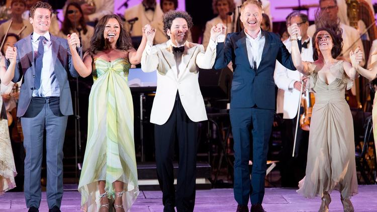 """Sondheim on Sondheim"" at the Hollywood Bowl with, from left, Jonathan Groff, Vanessa Williams, Gustavo Dudamel, Jesse Tyler Ferguson and Ruthie Ann Miles. (Mathew Imaging / L.A. Philharmonic)"