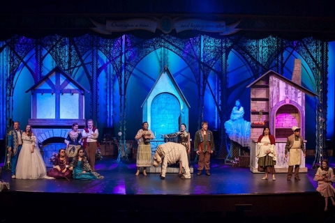 Into the Woods set rental bakers house, cinderella's house and jacks house scenery - Stagecraft Theatrical 800-499-1504
