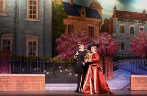 Cherry Tree Lane Drop  - Mary Poppins set rental - Front Row Theatrical - 800-250-3114