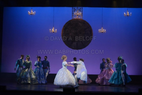 Cinderella ballroom with pendulum clock - set rental - Front Row Theatrical - 800-250-3114