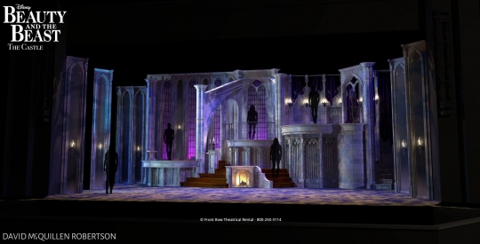 Beauty and the Beast premium rental set castle  from Front Row Theatrical Rental - 800-250-3114