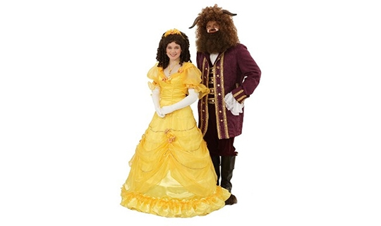 Belle's Yellow Dress and Beast's Formal Suit Beauty and the Beast Rental Costumes from The Costumer