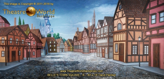 Belle's Town Square - B Scenic Backdrop