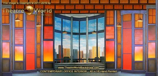 Contemporary Office Interior Backdrop Rental