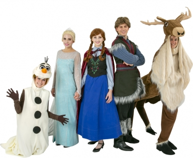 Rental Costumes for Frozen - Olaf Snowman, Elsa Ice Dress, Anna Travelling Outfit, Kristoff, and four legged Sven Rental Costumes - Sven also available in a two legged version