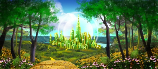 Gleaming Emerald City Backdrop used in the production of The Wizard of Oz