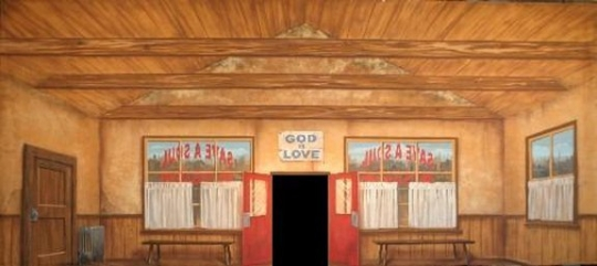 Grosh Backdrops Save a Soul Mission Backdrop used in the production of Guys and Dolls