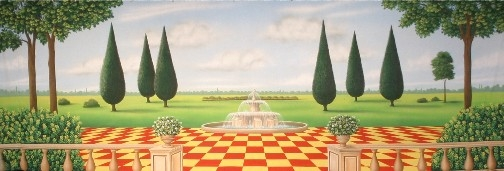 Adorable Garden with Red and Yellow Checkered Board floor backdrop for Alice in Wonderland plays