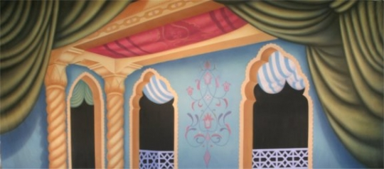 Captivating Arabian Place Interior backdrop used in Aladdin productions