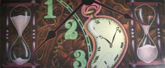 Grosh Backdrop Clock Montage is used in the play Alice in Wonderland