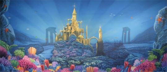 Underwater Mermaid Castle Little Mermaid Backdro...
