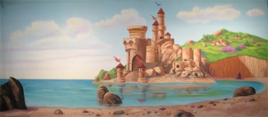 Castle by the Beach backdrop is a must for your stage performance of The Little Mermaid