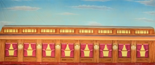 Train Car Exterior backdrop used in the production of The Music Man and Polar Express