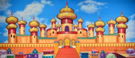 Beautiful Arabian Palace Exterior Backdrop used in productions of Aladdin