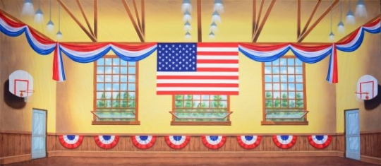 Patriotic Gymnasium backdrop used in the production of The Music Man
