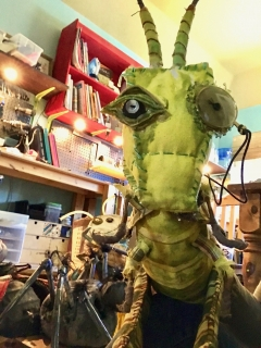Grasshopper puppet for James and the Giant Peach