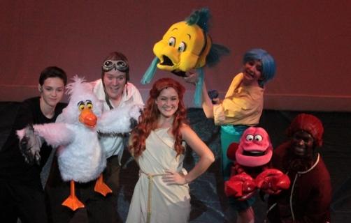 "Ariel ""sail"" dress, Flounder, Scuttle and Sebastian"