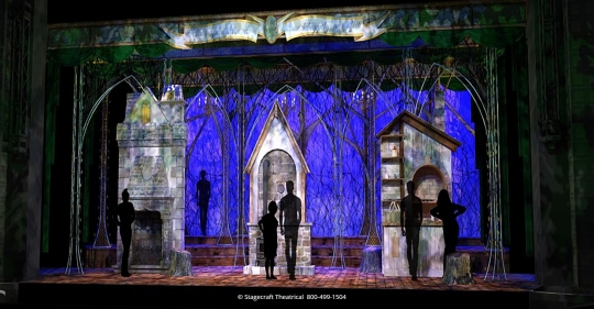 Into the Woods set rental - Act Two Opening with houses - Stagecraft  Theatrical - 800-499-1504