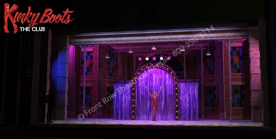 Lola's drag Club - Kinky Boots broadway musical set rental - Front Row Theatrical - 800-250-3114