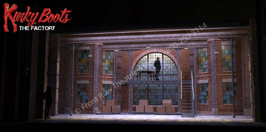 the factory - Kinky Boots broadway musical set rental - Front Row Theatrical - 800-250-3114