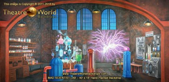 Mad Scientist Laboratory Scenic Backdrop