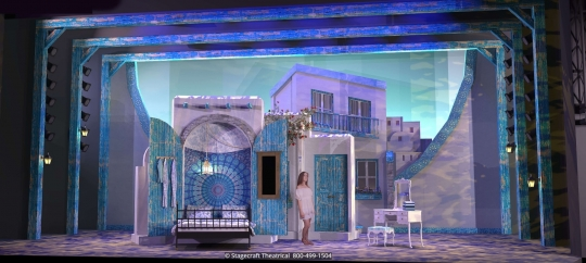 Mamma Mia Set Rental - Donna's Bedroom- Stagecraft Theatrical - 800-499-1504