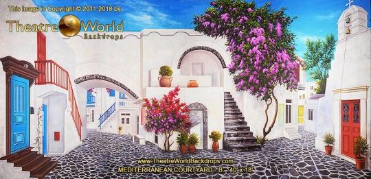 Mediterranean Courtyard Scenic Backdrop