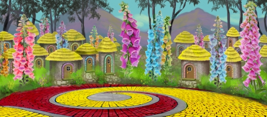 Adorable Munchkinland backdrop used in the play Wizard of Oz