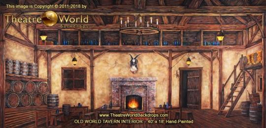 Old World Tavern Interior Scenic Backdrop