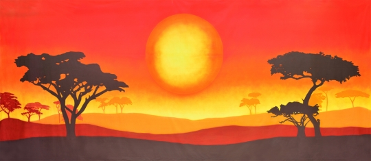 Peaceful African Sun Landscape backdrop is used in Lion King play