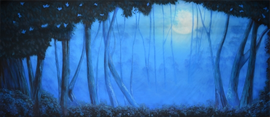 Blue Night Forest backdrop and projection by Grosh Backdrops and Drapery is used in Addams Family, Into the Woods, Beauty and the Beast, Peter Pan,