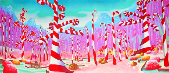 Fantasy Candy Cane forest backdrop for productions of The Nutcracker and charlie and the chocolate factory