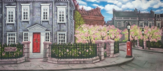Magical Cherry Tree Lane backdrop used in the production of Mary Poppins