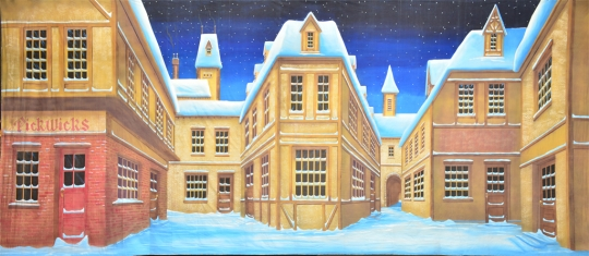 Grosh English winter Village backdrop used in productions of Scrooge