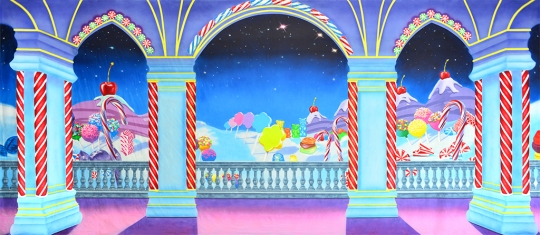 Whimsical fantasy candyland backdrop used in the production of The Nutcracker