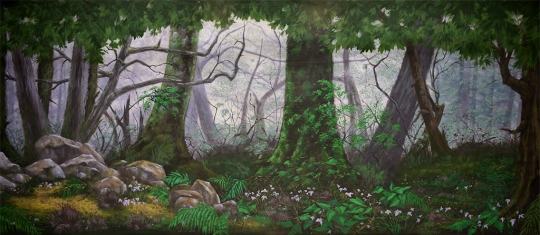 Grosh Backdrops and Drapery Forest Panel 2 projected image used in productions of Shrek, Wizard of Oz and Sleeping Beauty,The Lion King