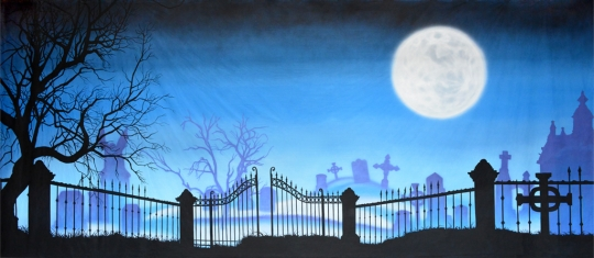 Graveyard with full moon backdrop is ideal for production of the Addams Family