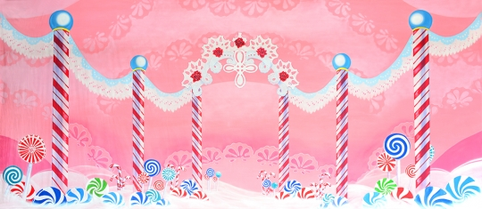 Simple Lace Candyland Backdrop for productions of The Nutcracker