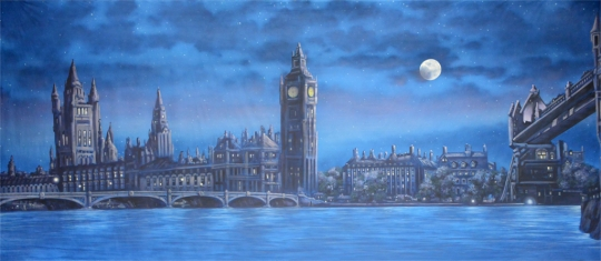 The quiet London Skyline at Night backdrop is used in productions of Mary Poppins and Peter Pan