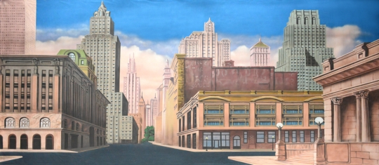 Grosh New York Street  backdrop used in productions of Annie,Madagascar and Guys and Dolls
