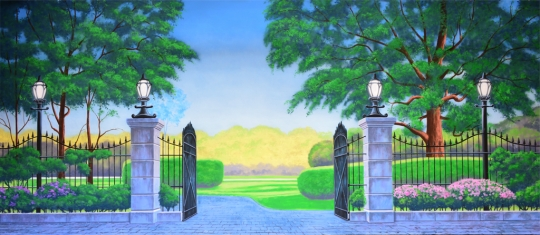 Park Backdrops are used in the shows Mary Poppins and Sound of Music