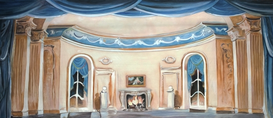 Grosh Blue Parlor Interior Backdrop used in productions of Scrooge and Cinderella