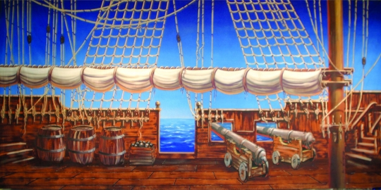 Pirate Ship Deck projected image is used in productions of Peter Pan