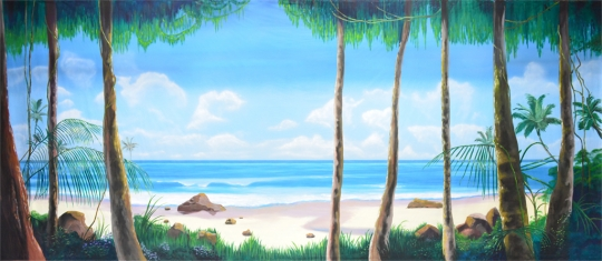 Tropical Beach with Jungle Foliage backdrop used in productions of madagascar