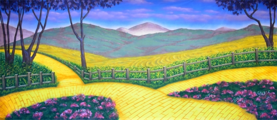 Grosh yellow brick road backdrop used in plays of Wizard of Oz