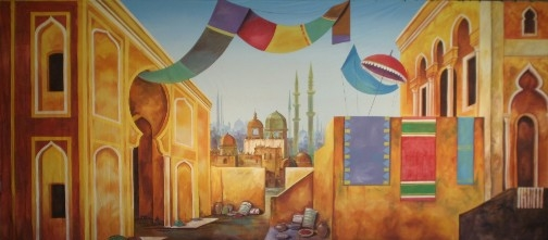 Colorful Arabian Marketplace used in the play Aladdin