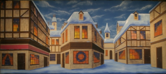 English winter village backdrop used in productions of A Christmas Carol and Scrooge