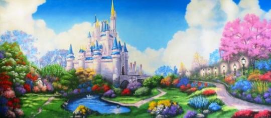 Cinderella's fairytale castle backdrop for the play of Cinderella