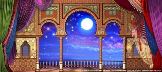 Sultan's Palace Interior Balcony SH-AL015-S 20x45 Aladdin Backdrop Rental